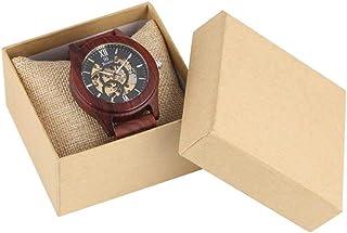 LYMUP Reloj de Madera Royal Red Sandalwood Wooden Watch Relojes mecánicos Reloj automático de Hombres Reloj de Banda Ajust...