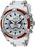 Invicta Men's Star Wars Captain Phasma 52mm Stainless Steel and Silicone Chronograph Quartz Watch, White (Model: 27213)