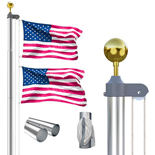 25FT Sectional Flag Pole Kit, Extra Thick Heavy Duty Aluminum Flagpole Set Outdoor in Ground Flag Poles with 3x5 USA Flag for Residential or Commercial,Silver…