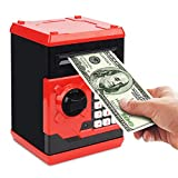 Setibre Piggy Bank, Electronic ATM Password Cash Coin Can Auto Scroll Paper Money Saving Box Toy Gift for Kids (Red)