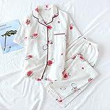 XFLOWR Summer Women Sweet Pyjamas Set Cuello Vuelto Manga Corta + Pantalones Confort Algodón Ropa de Dormir Ropa de casa Fina y Suelta L Blanco