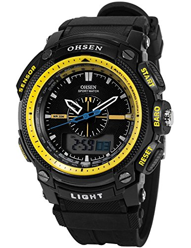OHSEN Sportuhren LCD Dual Core Herren Damen Sport Datum Tag gelb Stoppuhr Schwarz Gummi Armbanduhr Geschenk