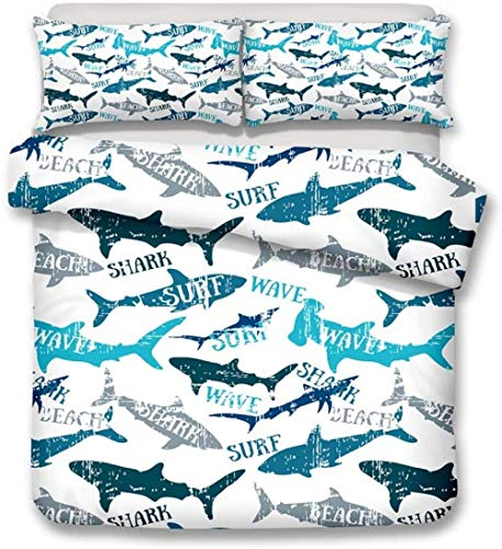 XZHYMJ 3D Digital Printing The Underwater World Blue Shark Bedding Set Duvet Cover Sets 9 Double-Double_8