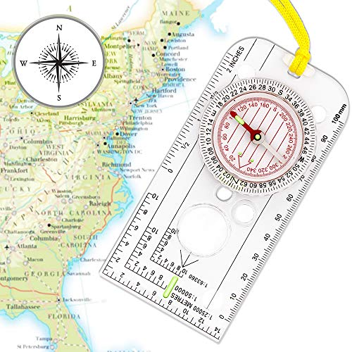 XLHVTERLI Navigation Compass,Explorer Compass for Expedition Map reading,Lightweight Map Ruler,Orienteering Compass with Adjustable Declination for Survival Mountaineering or Hiking-Fully Waterproof