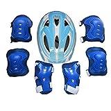 fuchsiaan Juego De Equipo De Protección para Niños, con Casco De Bicicleta, Rodilleras, Coderas, Muñequeras, Transpirable, Cómodo, para Patinaje sobre Ruedas, Ciclismo, Patineta, Monopatín Azul Claro
