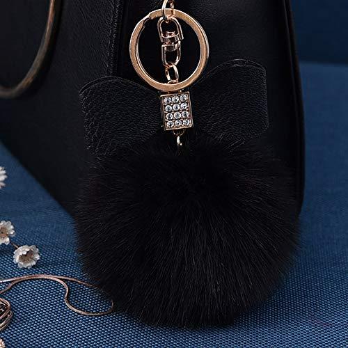 Fluffy Ball Key Chain 8-10cm Cute Keychain Bag Charm Ball Fur Key Chain for Car Key Ring (Black)