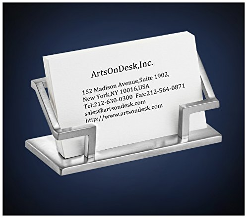 ArtsOnDesk Modern Art Business Card Holder - St201 Stainless Steel Satin Finish Patented Luxury Desk Accessory Business Name Card Stand Case Office Organizer Christmas Valentines Day Graduation Gift.