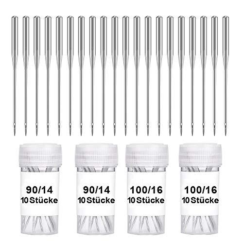 Wamkon 40 Stücke Nähmaschine Nadel Set, 90/14 und 100/16 Nähen Maschine Nadel, Universal Nähmaschine Nadeln Set für Haushalt Nähen