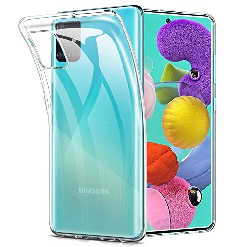 Amonke Transparent Kompatibel mit Samsung Galaxy A51 Hülle Silikon Durchsichtig Handyhülle TPU Dünn Stoßfest Fallschutz Bumper Slim Hülle Cover Schutzhülle für Samsung A51 6,5''