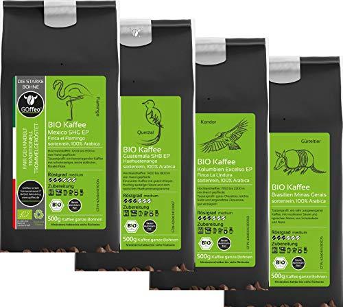 Kaffee-Reise - 4x 500g Bio Kaffee aus Mexiko - Guatemala - Kolumbien und Brasilien | GOffeo Bio Kaffee - sortenrein - 100% Arabica - traditionelle Trommelröstung | Alle Zubereitungsarten