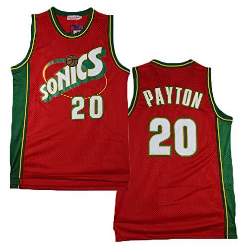 LITBIT Baloncesto para Hombre NBA Jersey Vintage Seattle Supersonics 20# Payton Transpirable Secado rápido Sin Mangas Vestima Top para los Deportes,Rojo,L