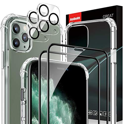 """AsBellt Protector Pantalla de iPhone 11 Pro Max(2*Protector de Pantalla+2*Protector de Cámara +1*Funda) Cristal Templado para iPhone 11 Pro Max (6.5"""")"""