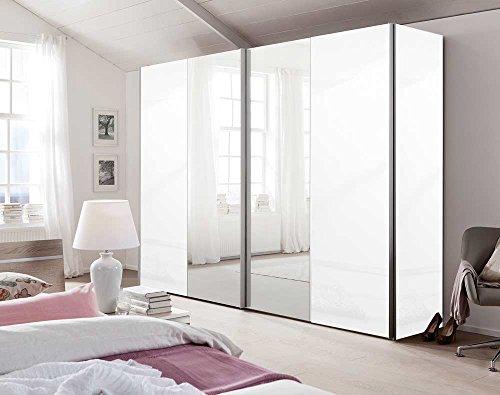 lifestyle4living 2-TRG. Schwebetürenschrank in Polar-Weiß,Türen Lack weiß,mittlere Fronten mit Spiegel,4 Einlegeböden und 4 Kleiderstangen,Maße:...