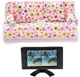 CharmTM Doll Living Room Set Flatscreen TV Television & Sofa Couch Dollhouse Furniture