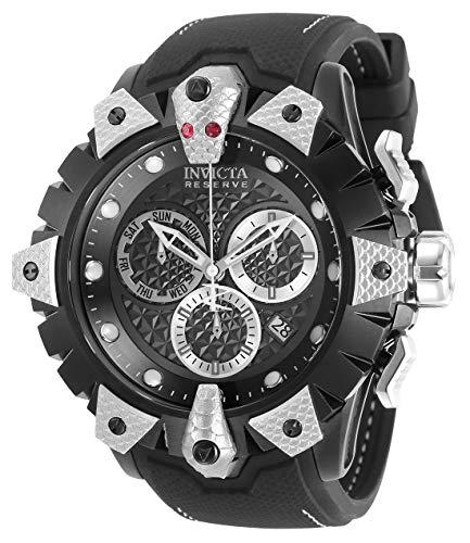 Invicta Reserve Reloj de cuarzo de acero inoxidable con correa de silicona, negro, 26 (Modelo: 32133)