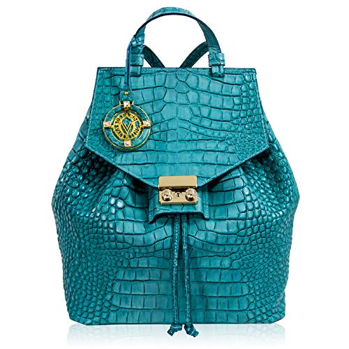 Valentino Orlandi Women's Medium Handbag Backpack Italian Designer Purse Art Deco Blue Genuine Leather Tote Top Handle Satchel Sling Bucket Bag in Croc Embossed Design