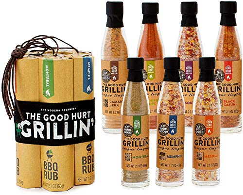 Thoughtfully Gifts, The Good Hurt Fuego: Grillin, BBQ Rub for Grilling Gift Set, Flavors Include Chipotle Lime, Montreal, Memphis, Black Cajun and More, Pack of 7
