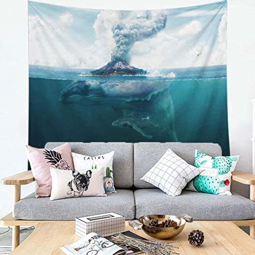 N/A Decoración De Tapices Impresión 3D Dolphin Blue Sea Colgante De Pared Paisaje De Verano Mujeres Niñas Habitación Habitación Hippie Poliéster Arte Pared Decoración (130 X 150 Cm)