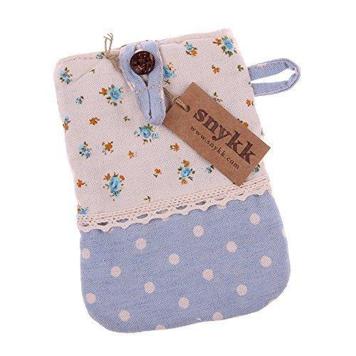 Snykk Tasche Handy Smartphone Telefon Karten Case Hülle Leinen Stoff Vintage Blumen Punkte hellblau Kawaii blau vegan