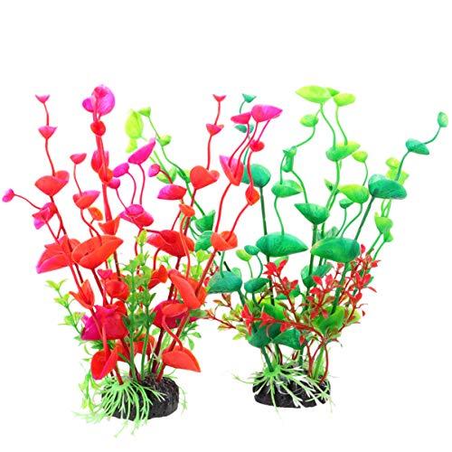 POPETPOP 2 Piezas de Plantas de Agua de Algas Artificiales para Acuario Pecera de Plástico Plantas Realistas Decoración Ornamento (Color Variado)