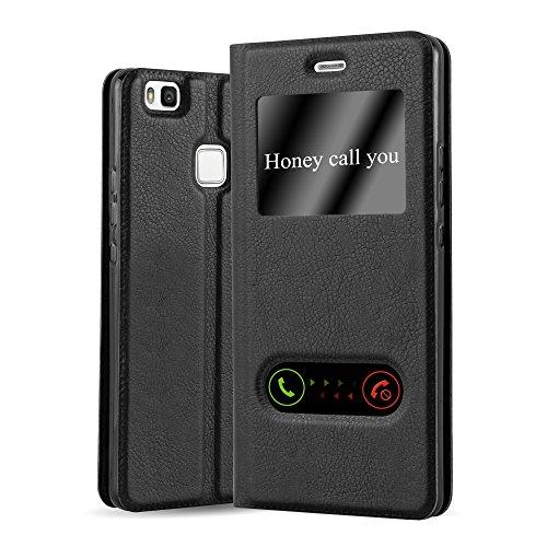 Cadorabo Hülle für Huawei P9 LITE - Hülle in KOMETEN SCHWARZ – Handyhülle im Standfunktion und 2 Fenstern (View Design) - Case Cover Schutzhülle Etui Tasche Book Klapp Style