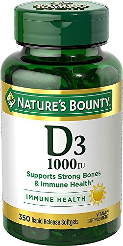 Vitamin D3 by Nature's Bounty for immune support. Vitamin D3 provides immune support and promotes healthy bones. 1000IU, 350 Softgels