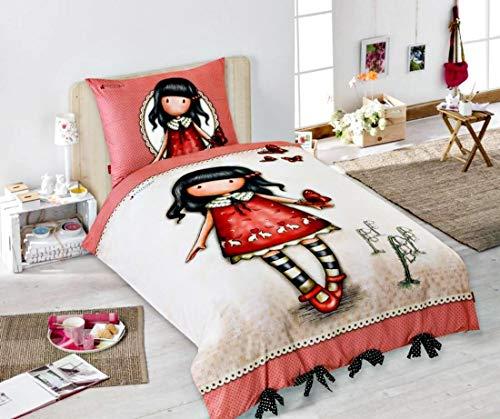 Bambina Bambola Vestito Rosso Farfalle - Set Letto Singolo Copripiumino 140x200cm + Federa 100% Cotone Originale Santoro Gorjuss