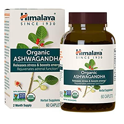 Himalaya Organic Ashwagandha, Adaptogen for Stress-relief, Cortisol level support and Energy Boost, 60 Caplets