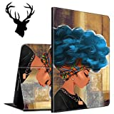 Case for All-New Amazon Kindle Fire 7 Tablet (9th Generation, 2019 Release), Slim Auto Wake/Sleep Protective Smart Cover Case with a Sticker (Deer Head), Black Girl African