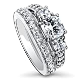 BERRICLE Rhodium Plated Sterling Silver Cushion Cut Cubic Zirconia CZ 3-Stone Anniversary Wedding Engagement Ring Set 2.8 CTW Size 8