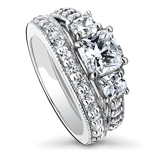 BERRICLE Rhodium Plated Sterling Silver Cushion Cut Cubic Zirconia CZ 3-Stone Anniversary Engagement Wedding Ring Set 2.79 CTW Size 7.5