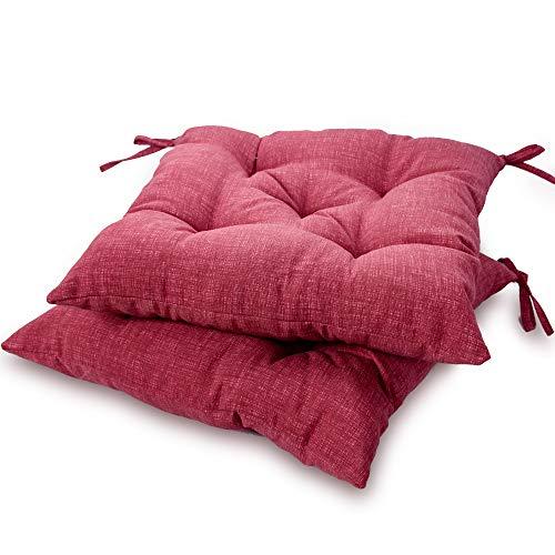 Viste tu hogar Pack 2 Cojines para Silla, 45X45 CM, Relleno de Algodón, Color Liso, Ideal para la Decoración de Cocina y Sala, Color Rojo Magenta, Fabricado en España