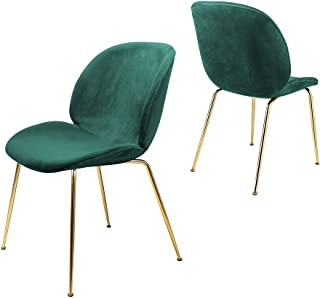 GIA CH02-GREEN-SU-GD Velvet Upholstered Dining Chair, 2-Pack, Green