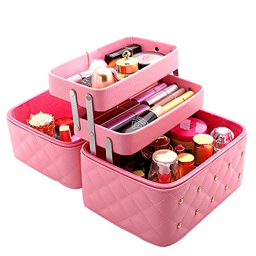 Boîte de Rangement cosmétique Ongles,PU imperméable à l'eau et à la poussière boîte de Stockage Portable boîte à cosmétiques Trousse à Maquillage de Voyage Multi-Fonction