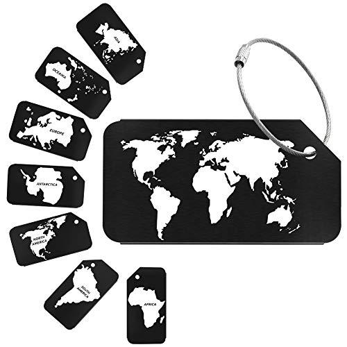 Wilxaw 8 Piezas Etiquetas para Equipaje Viaje, Etiqueta de Maleta de Aleación de Auminio, ID Tag Portatarjetas (Negro)