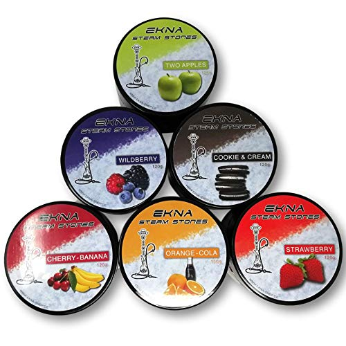 EKNA® SteamStones Probier-Set - 6 x 120g - Shisha Steine Nikotinfrei - Tabakersatz Shisha - Dampfsteine mit intensivem Geschmack!