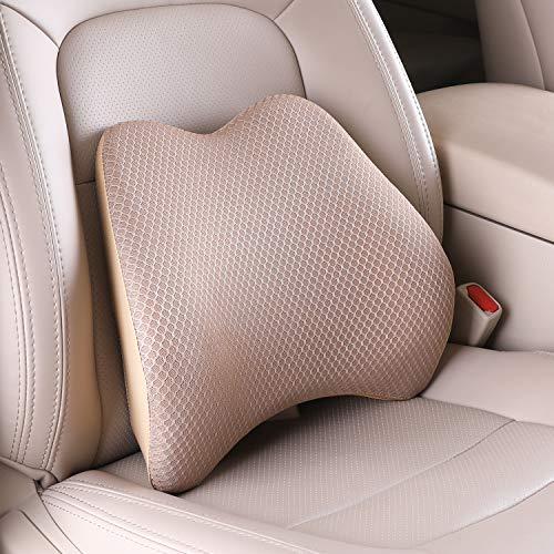 Livtribe Cojín lumbar de apoyo lumbar de espuma viscoelástica para la parte baja de la espalda, ideal para asientos de coche, silla de oficina, silla de ruedas (beige)