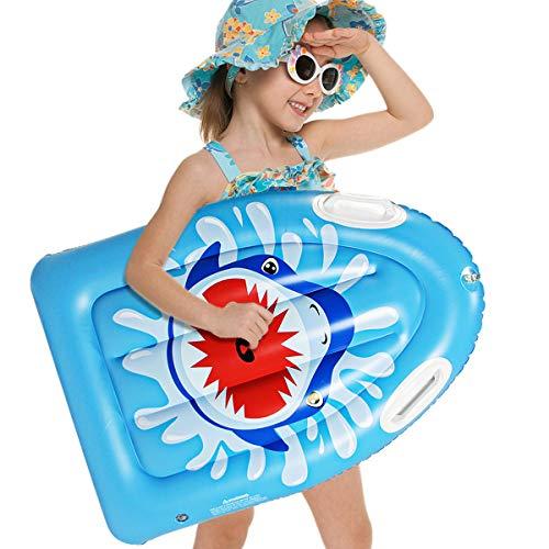XKMY Tabla de surf inflable de PVC para niños, tabla de surf portátil de tiburón, tabla de flotación de agua, esquí, piscina, deportes acuáticos (color: 78 x 56 x 13 cm)