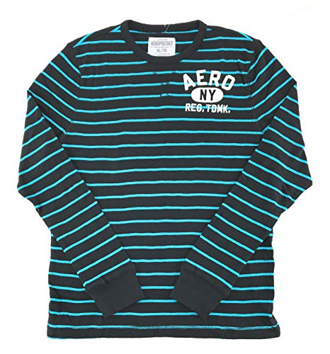 AEROPOSTALE Mens Long Sleeve Thermal Shirt XX-Large Black Aqua 6381