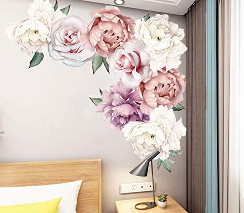 COVPAW® Wandtattoo Wandaufkleber XXL Pfingstrose Blumen Ranke Rosen Rosa Wandsticker Wandbild Bilder Wohnzimmer Schlafzimmer Deco