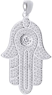 Christmas Holiday Sale 2 Carat (Ctw) Round Cut White Natural Diamond Iced Out Hip Hop Jewelry Hamsa Pendant In Sterling Silver