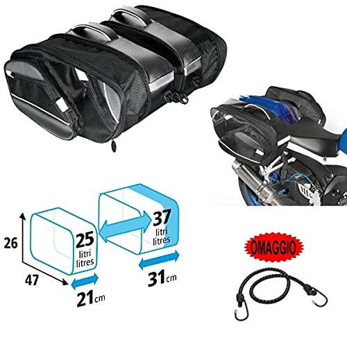 Compatible con Sym Jet 4 R 50 Par de bolsas laterales Lampa 25-37 l Bolsa de conexión universal para moto scooter 2 bolsas 47 x 26 x 21 – 31 cm