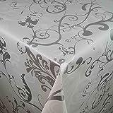 DecoHomeTextil Wachstuch Wachstischdecke Tischdecke Breite und Länge wählbar Milano Lux Weiß 120 x 200 cm Eckig abwaschbar Gartentischdecke