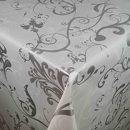 DecoHomeTextil Wachstuch LFGB Milano Lux Weiss Breite & Länge wählbar abwaschbare Tischdecke Eckig 100 x 160 cm