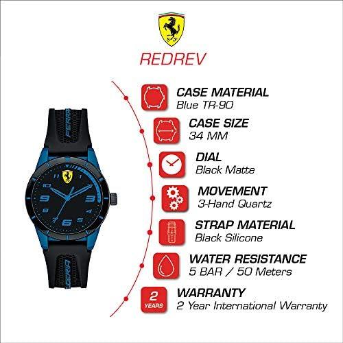 Ferrari 860007 Boy's RedRev Quartz TR90 and Silicone Strap Casual Watch, Black WeeklyReviewer