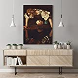 Pintura Famosa Narciso Caravaggio Obra Maestra Lienzo Arte De La Pared Figura PóSter Salon De Estar Estudio Impresiones Hogar Dormitorio Decoracion Cuadros 50x70cm Sin Marco