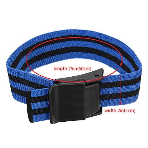 QIjinlook Starkes Elastikband Manschetten für das Okklusionstraining Venenstauer fördern das schnellere Wachstum schlanker Muskeln ohne schwere Gewichte schnell lösbare Schnalle (Blau)