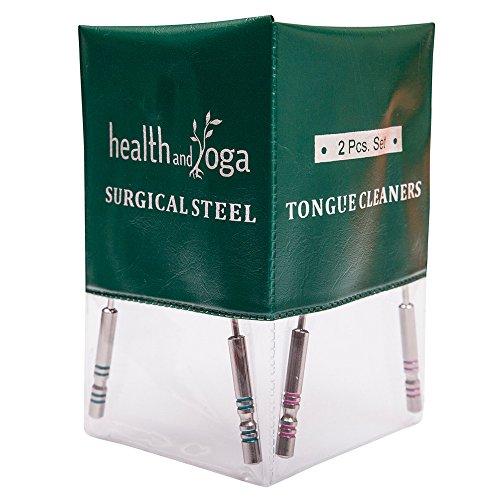 HealthAndYoga(TM) - Set di 2 pulitori per lingua, in acciaio chirurgico, sterilizzabili, colore distintivo su impugnature igieniche in acciaio
