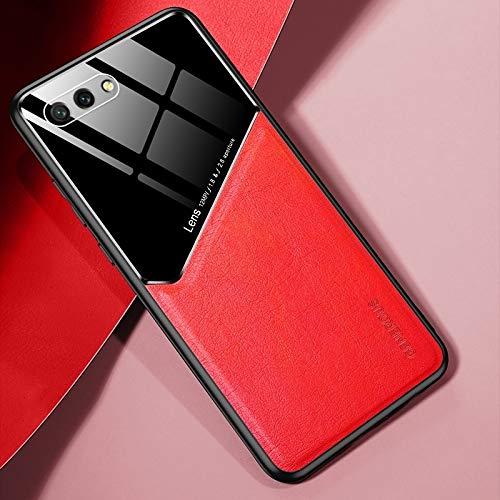 para Huawei Honor 10 Cuero Todo Incluido + Funda Protectora de Vidrio orgánico con Chapa de Hierro metálico (Color : Red)