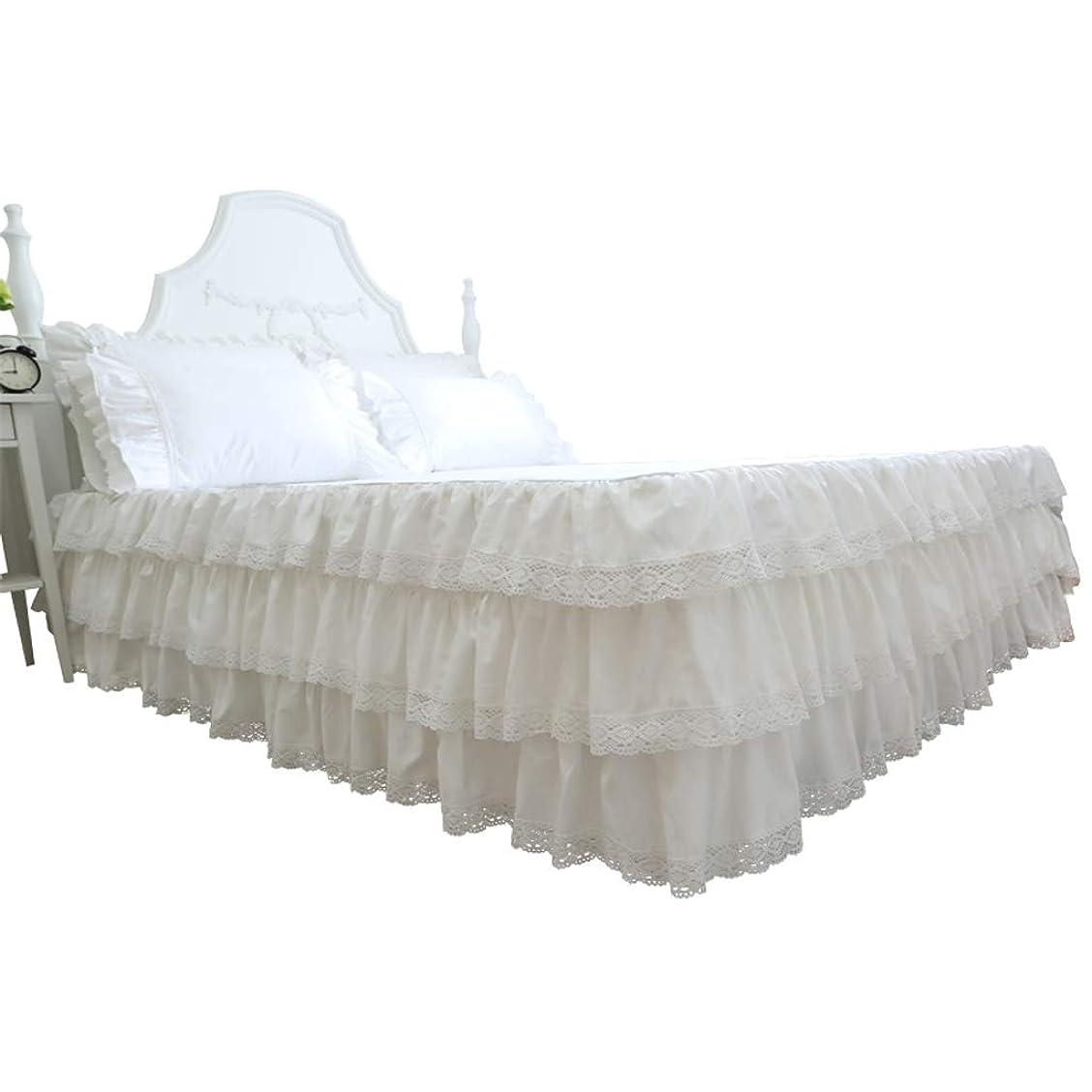 行方不明ディレクトリ誠実さ贅沢 白 レース ベッドスカート,サテン プリンセス 綿 防塵スカートスカート フリル ラップアラウンドスタイル 無地 王の女王 サギング-白-120×200センチメートル(47×79インチ)